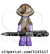 Purple Explorer Ranger Man Weightlifting A Giant Pen