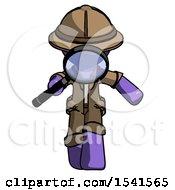 Purple Explorer Ranger Man Looking Down Through Magnifying Glass