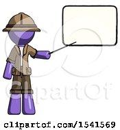 Purple Explorer Ranger Man Giving Presentation In Front Of Dry Erase Board