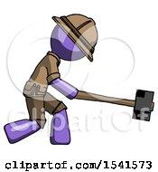 Purple Explorer Ranger Man Hitting With Sledgehammer Or Smashing Something