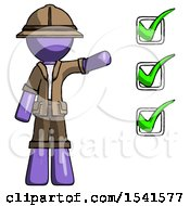 Purple Explorer Ranger Man Standing By List Of Checkmarks