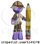 Purple Explorer Ranger Man With Large Pencil Standing Ready To Write
