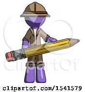 Purple Explorer Ranger Man Writer Or Blogger Holding Large Pencil