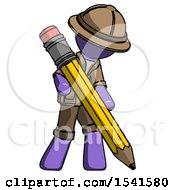 Purple Explorer Ranger Man Writing With Large Pencil