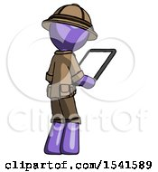 Purple Explorer Ranger Man Looking At Tablet Device Computer Facing Away