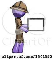 Purple Explorer Ranger Man Show Tablet Device Computer To Viewer Blank Area