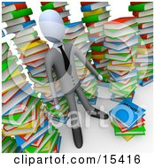 Businessman Doing Research In A Library Full Of An Unorganized Mess Of Colorful Stacked Books
