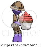 Purple Explorer Ranger Man Holding Large Cupcake Ready To Eat Or Serve