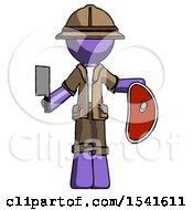 Purple Explorer Ranger Man Holding Large Steak With Butcher Knife