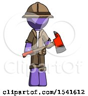 Purple Explorer Ranger Man Holding Red Fire Fighters Ax
