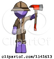 Purple Explorer Ranger Man Holding Up Red Firefighters Ax