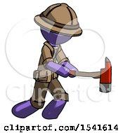 Purple Explorer Ranger Man With Ax Hitting Striking Or Chopping
