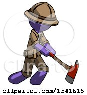 Purple Explorer Ranger Man Striking With A Red Firefighters Ax