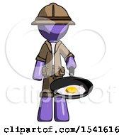 Purple Explorer Ranger Man Frying Egg In Pan Or Wok