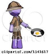 Purple Explorer Ranger Man Frying Egg In Pan Or Wok Facing Right