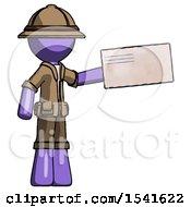 Purple Explorer Ranger Man Holding Large Envelope