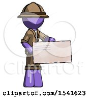 Purple Explorer Ranger Man Presenting Large Envelope