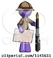 Purple Explorer Ranger Man Holding Large Envelope And Calligraphy Pen