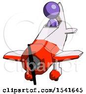 Purple Design Mascot Man In Geebee Stunt Plane Descending Front Angle View