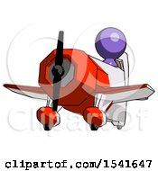 Purple Design Mascot Man Flying In Geebee Stunt Plane Viewed From Below