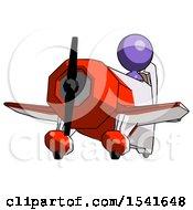 Purple Design Mascot Woman Flying In Geebee Stunt Plane Viewed From Below