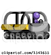 Purple Design Mascot Man Driving Amphibious Tracked Vehicle Side Angle View