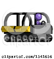 Purple Design Mascot Woman Driving Amphibious Tracked Vehicle Side Angle View
