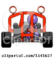 Purple Design Mascot Man Riding Sports Buggy Front View