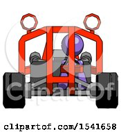 Purple Design Mascot Woman Riding Sports Buggy Front View