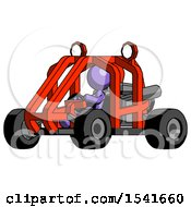 Purple Design Mascot Woman Riding Sports Buggy Side Angle View