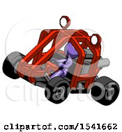 Purple Design Mascot Woman Riding Sports Buggy Side Top Angle View
