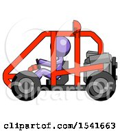 Purple Design Mascot Man Riding Sports Buggy Side View