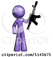 Purple Design Mascot Man Holding Automatic Gun