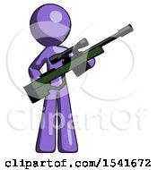 Purple Design Mascot Man Holding Sniper Rifle Gun