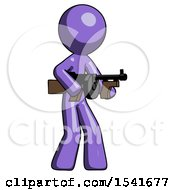 Purple Design Mascot Man Tommy Gun Gangster Shooting Pose