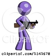 Purple Design Mascot Woman Tommy Gun Gangster Shooting Pose
