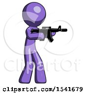 Purple Design Mascot Man Shooting Automatic Assault Weapon