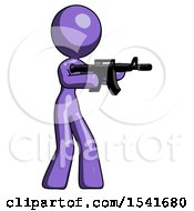 Purple Design Mascot Woman Shooting Automatic Assault Weapon