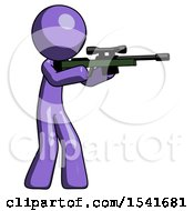 Purple Design Mascot Man Shooting Sniper Rifle