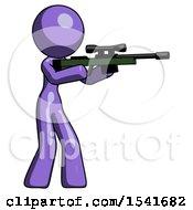 Purple Design Mascot Woman Shooting Sniper Rifle
