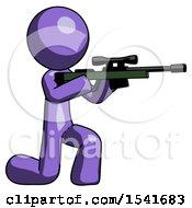 Purple Design Mascot Man Kneeling Shooting Sniper Rifle