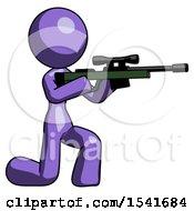 Purple Design Mascot Woman Kneeling Shooting Sniper Rifle