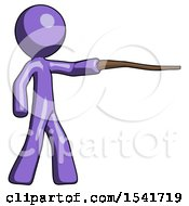 Purple Design Mascot Man Pointing With Hiking Stick