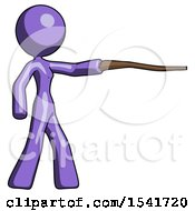 Purple Design Mascot Woman Pointing With Hiking Stick