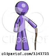 Purple Design Mascot Man Standing With Hiking Stick