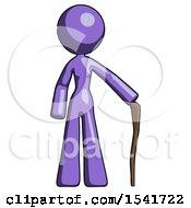 Purple Design Mascot Woman Standing With Hiking Stick