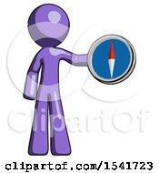 Purple Design Mascot Man Holding A Large Compass