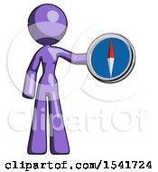 Purple Design Mascot Woman Holding A Large Compass