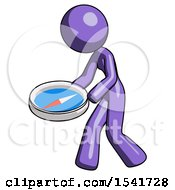 Purple Design Mascot Woman Walking With Large Compass