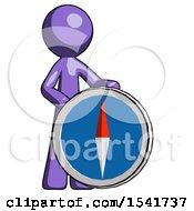 Purple Design Mascot Man Standing Beside Large Compass